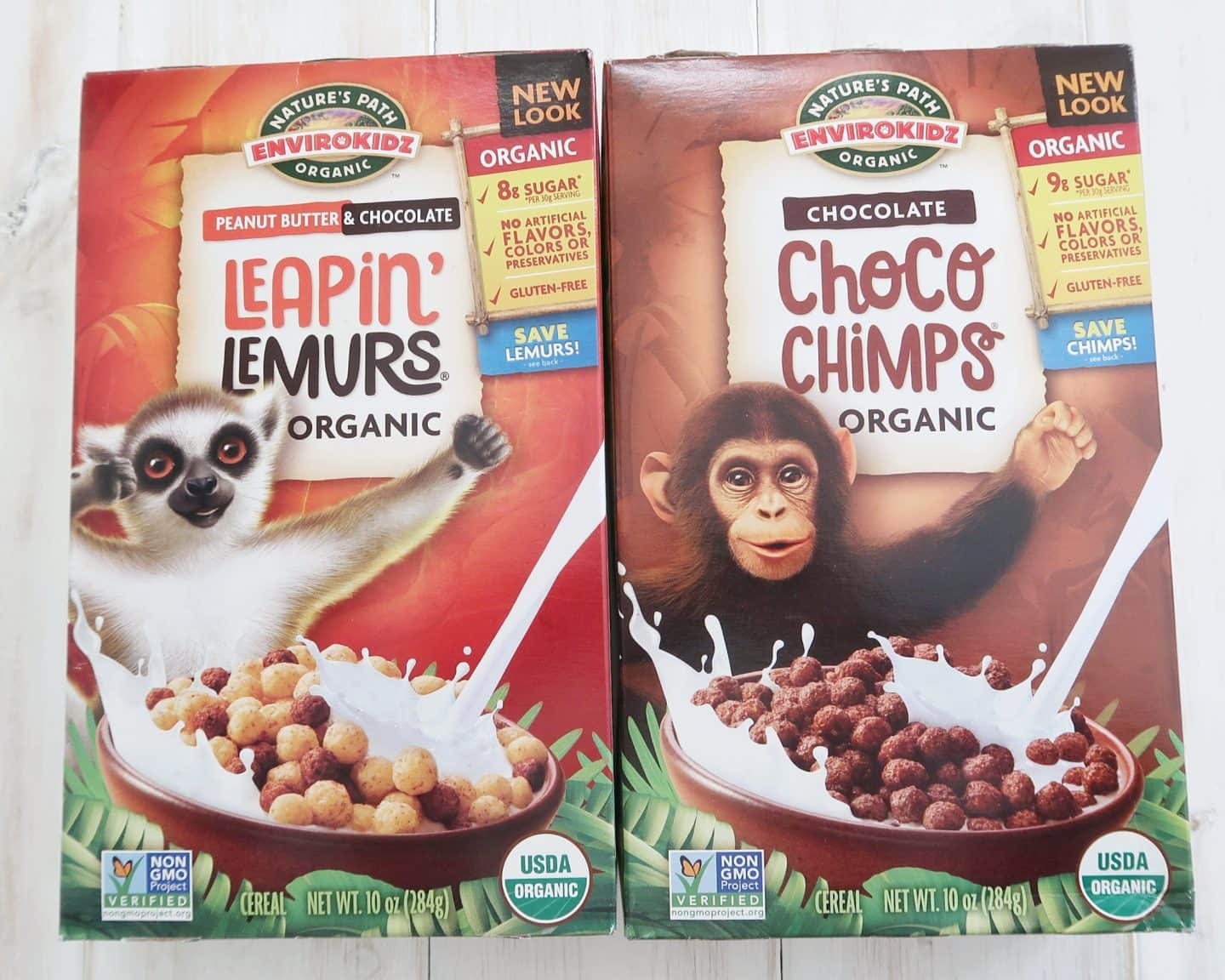 The Leapin' Lemur by Envirokidz cereal boxes