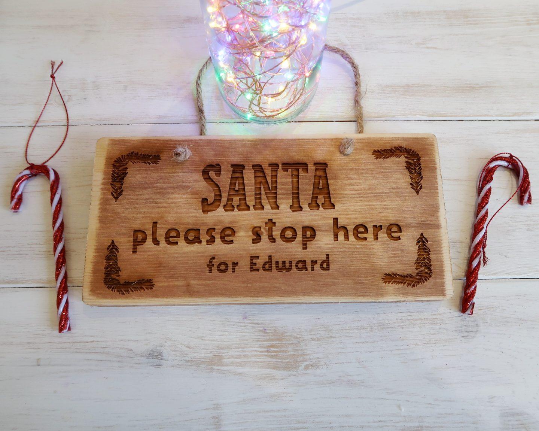 Personalised Christmas Keepsakes - Santa Stop Here Please personalised sign