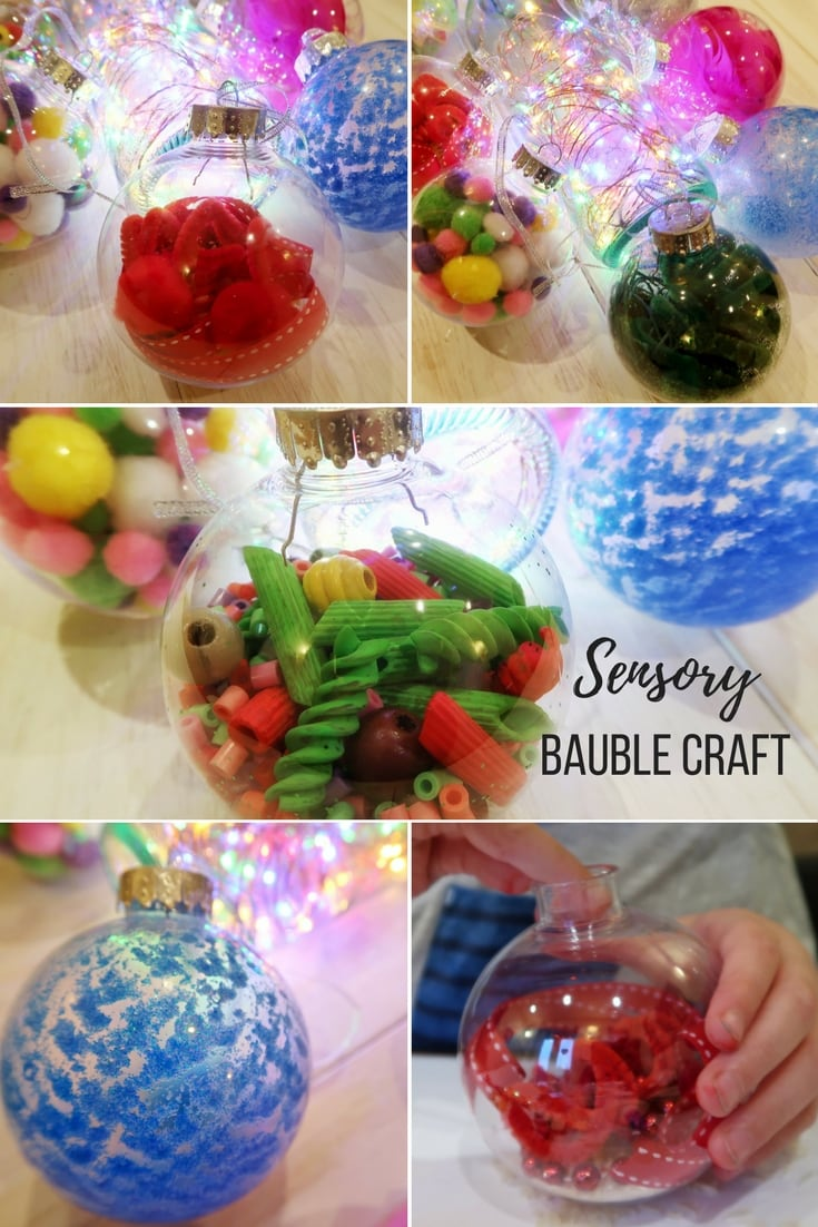 Christmas Sensory Bauble Craft - how to use hollow baubles to create a great craft that stimulates sensory seekers and develops fine motor skills.