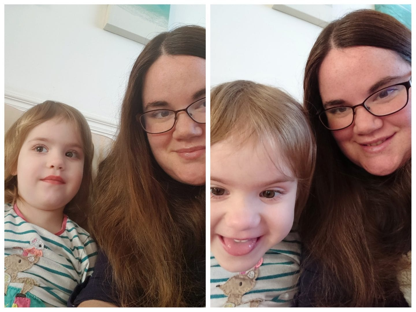 Me and littlest with comparison shots from two smart phones