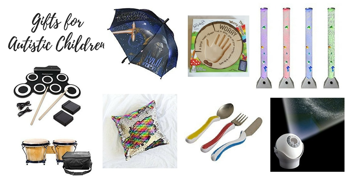 Gifts for Autistic Children Feature - a collage of various gifts including sensory toys and special cutlery.