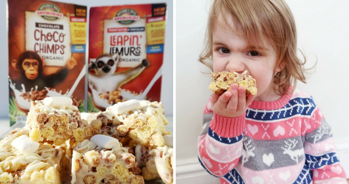 Gluten-free crispy cakes recipe with Envirokids Collage of the crispy cakes and a small girl eating them with the cereal package in the background.