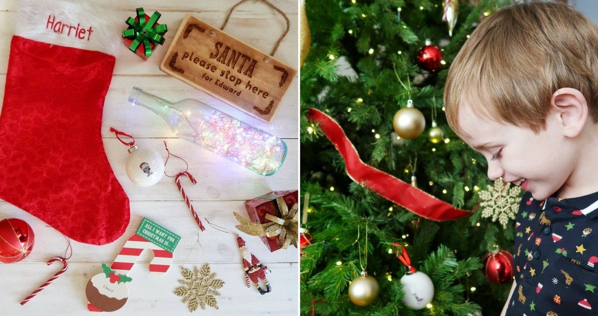 Personalised Christmas keepsakes on left, boy next to Christmas tree and personalised bauble on right.