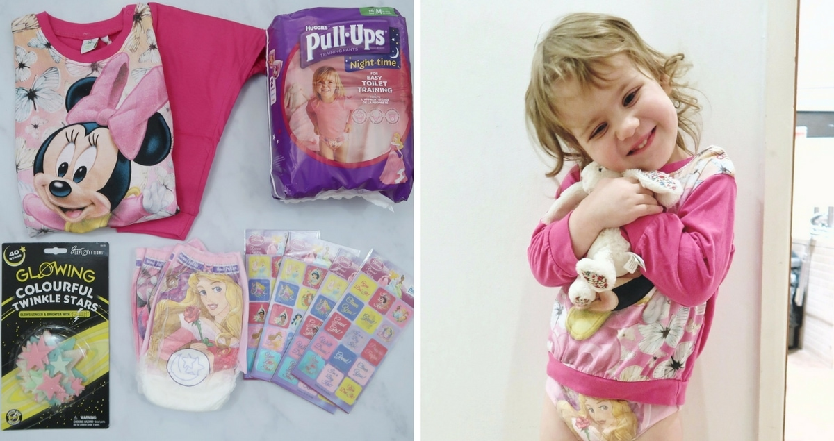 Collage of pull-ups, night time potty training aids such as glowing stars and a small girl, ready for bed with a stuffed rabbit - Tips For Night Time Potty-Training