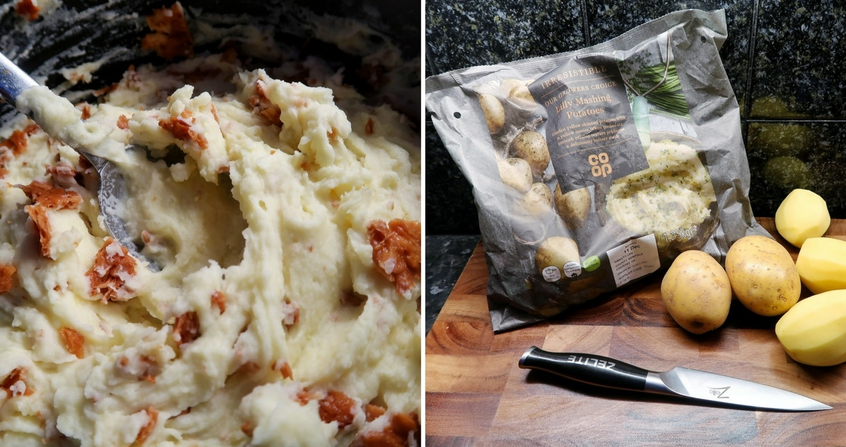 Cheese and Mustard Mash with Pecorino Crunch Feature - Mash with crunchy bits and an image of the potato packaging