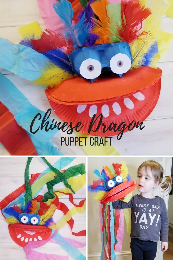 Chinese Dragon Puppet Craft - How to make a Chinese dragon paper plate puppet. A great craft to do with kids for Chinese New Year.