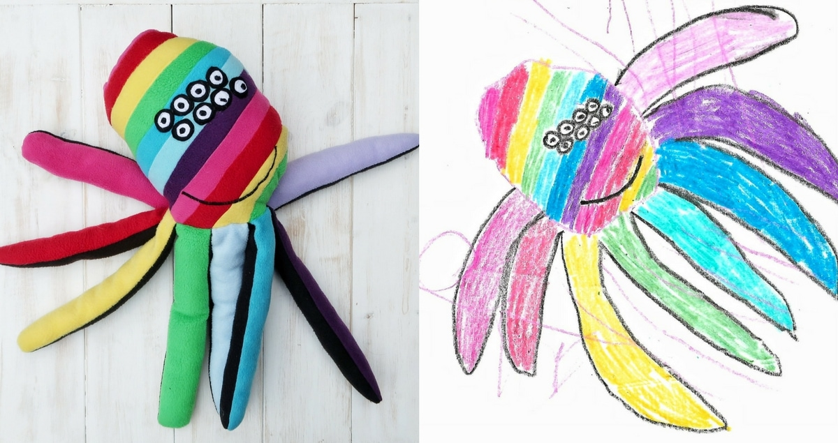 Dream Pet from Pet Plan - comparison of drawing of Mr Happy Rainbow Spider and real toy. His name pretty much says it all.
