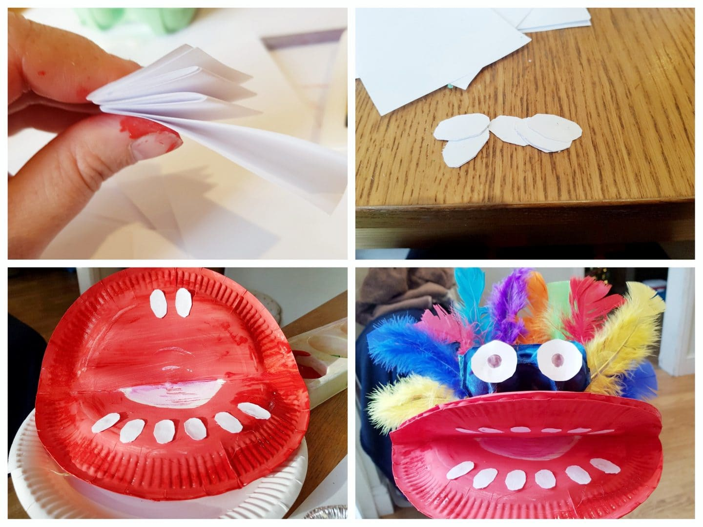 Collage of Chinese Dragon Puppet craft steps - attaching the teeth, eyes and feathers.