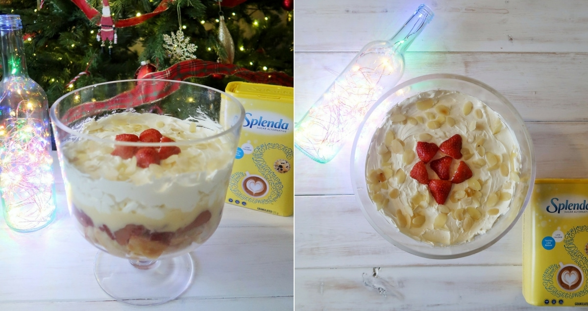 Low-sugar Trifle for Christmas with Splenda low-calorie sweetener. Two images of the trifle from the side and above.