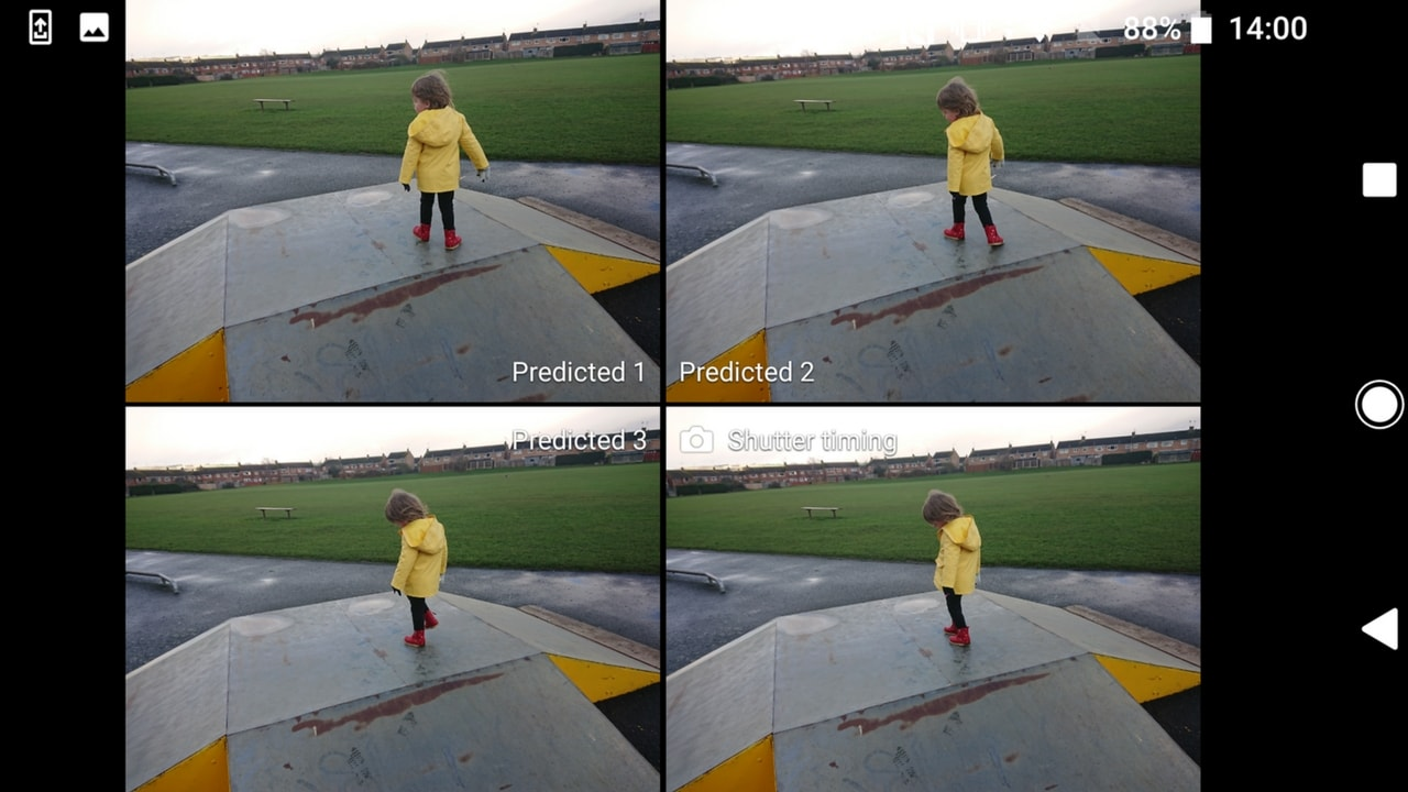 Predictive capture in action - 4 predictive shots of Littlest playing - Sony Xperia XZ1 Review