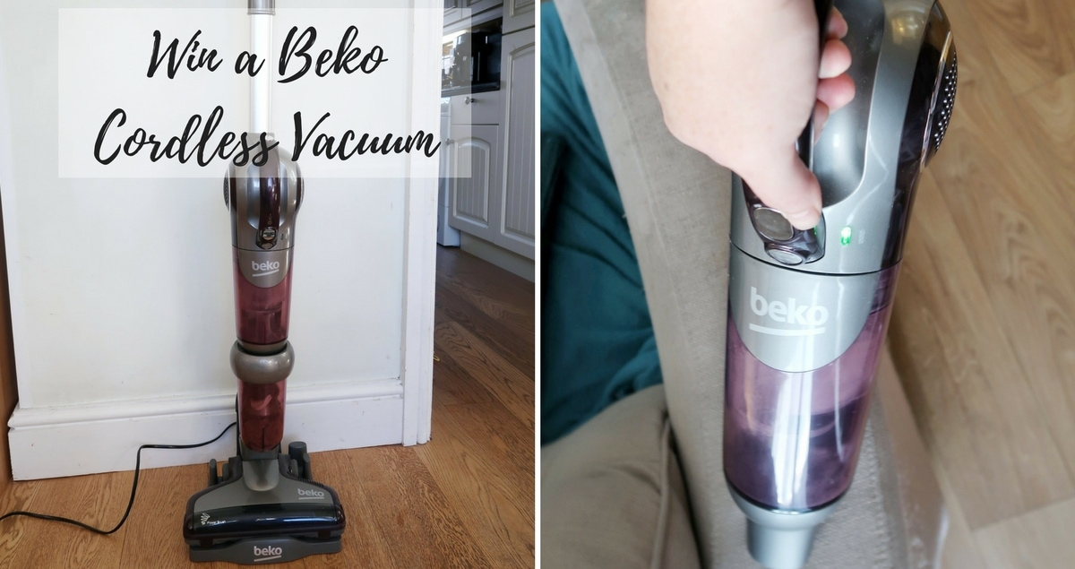 Win A Beko Cordless Vacuum - collage of the vacuum in upright and handheld modes
