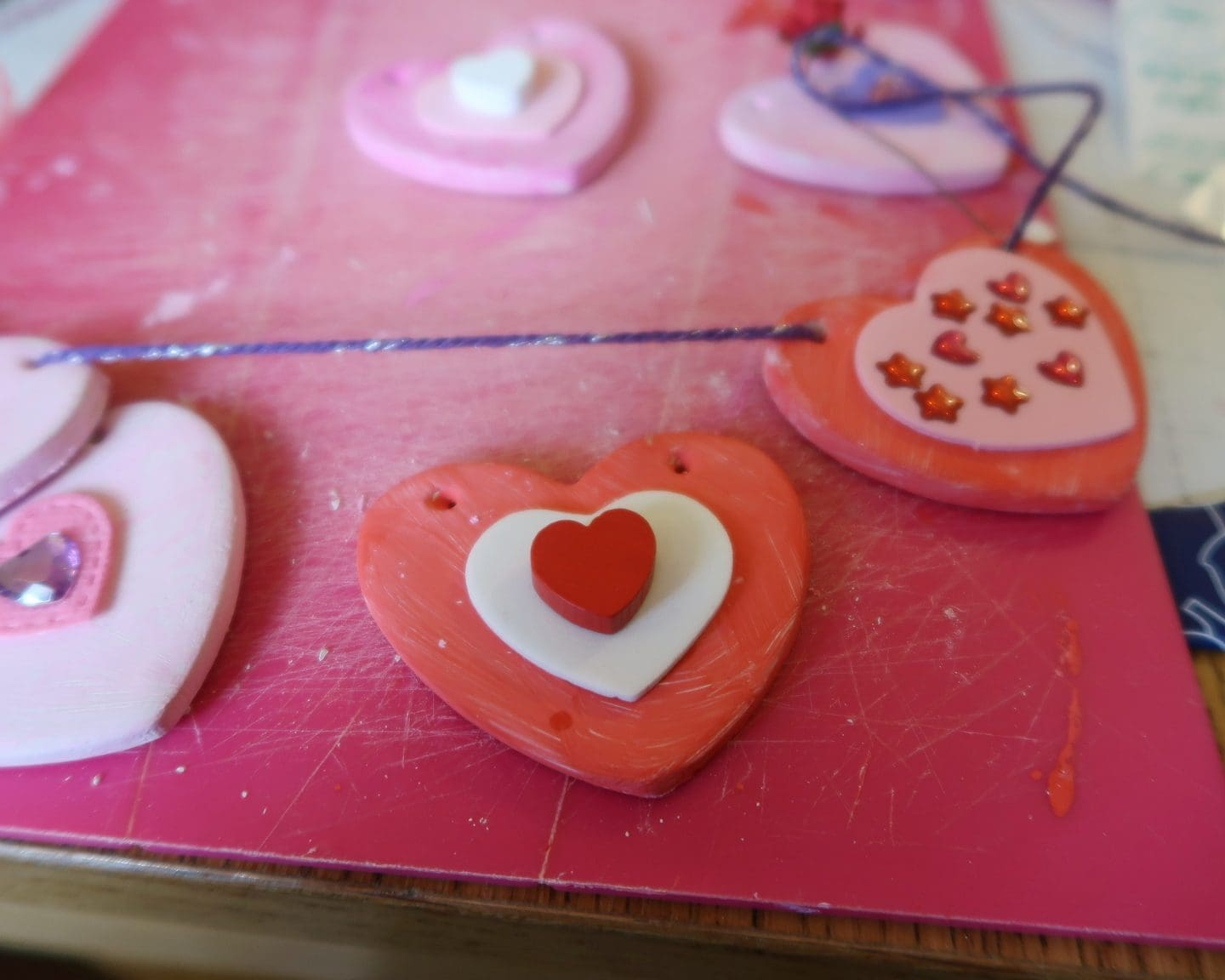 Close up of clay heart bunting for Valentine's Day
