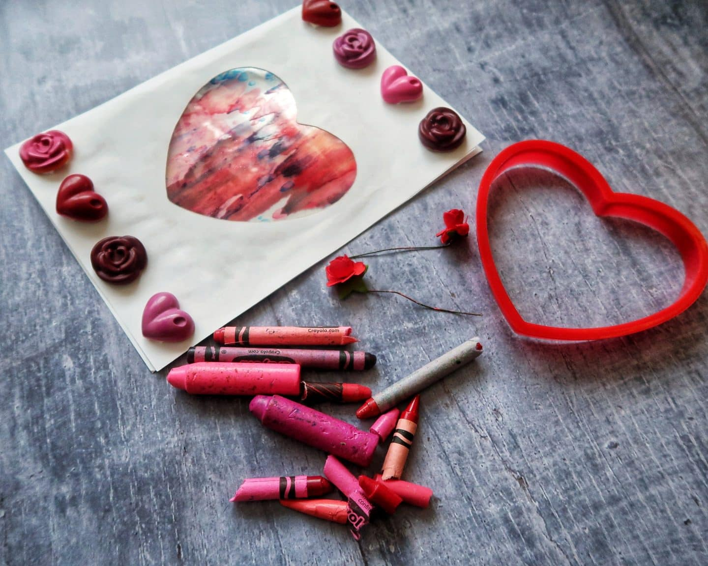 Valentine's Day Card Craft with pink wax crayons.