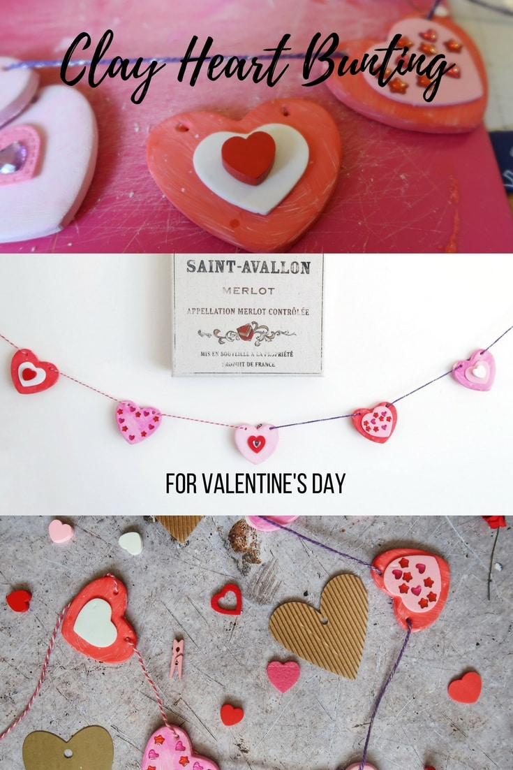 Clay Heart Bunting For Valentine's Day - How to make lay or dough heart bunting decorations to brighten your home on Valentine's Day.