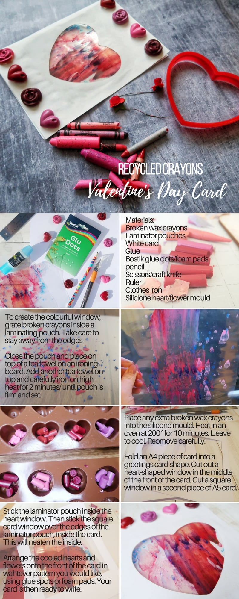 A phtoto tutorial for a Valentine's Day card craft , using left over wax crayons. See below image for full instructions.