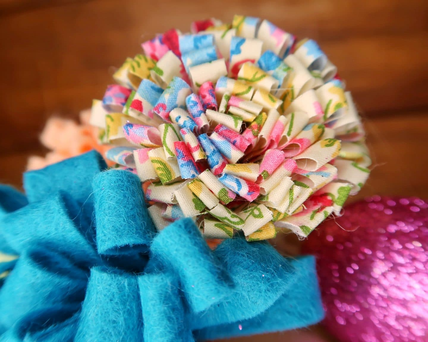 One of the fabric flowers
