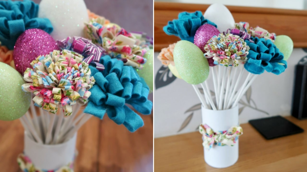 Fabric Flowers and Glitter Eggs used to make an Easter decoration