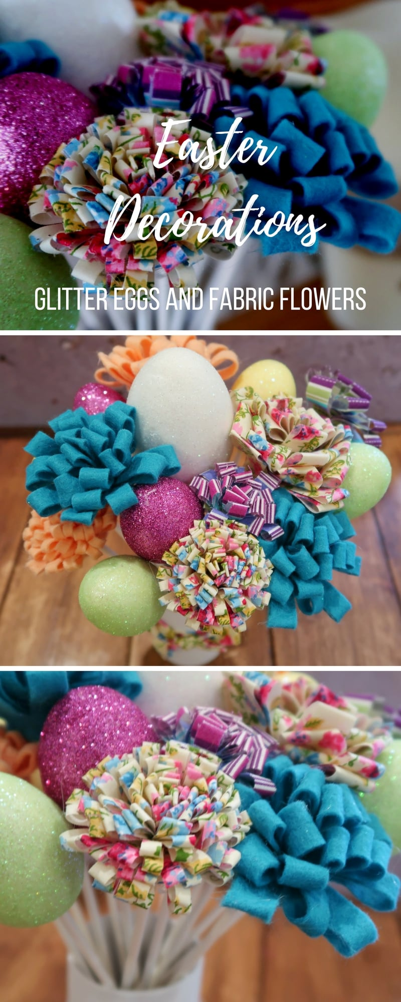 Easter Decorations - How to make glitter eggs and fabric flowers to create a beautiful Easter centrepiece decoration.