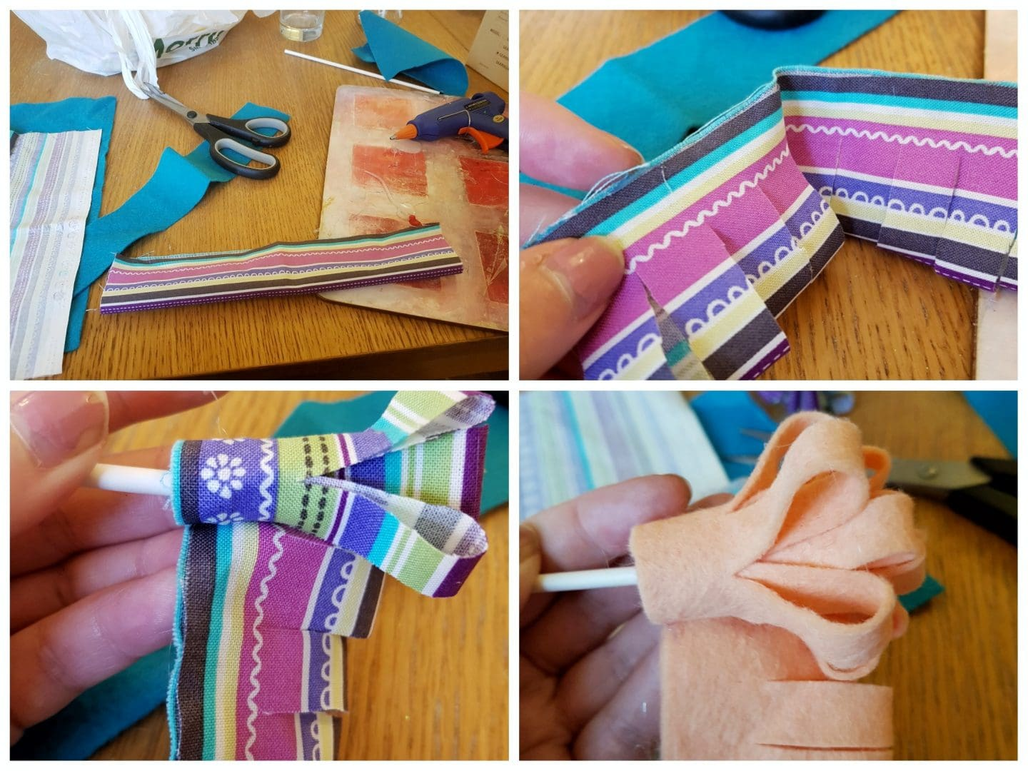 Steps for creating fabric flowers
