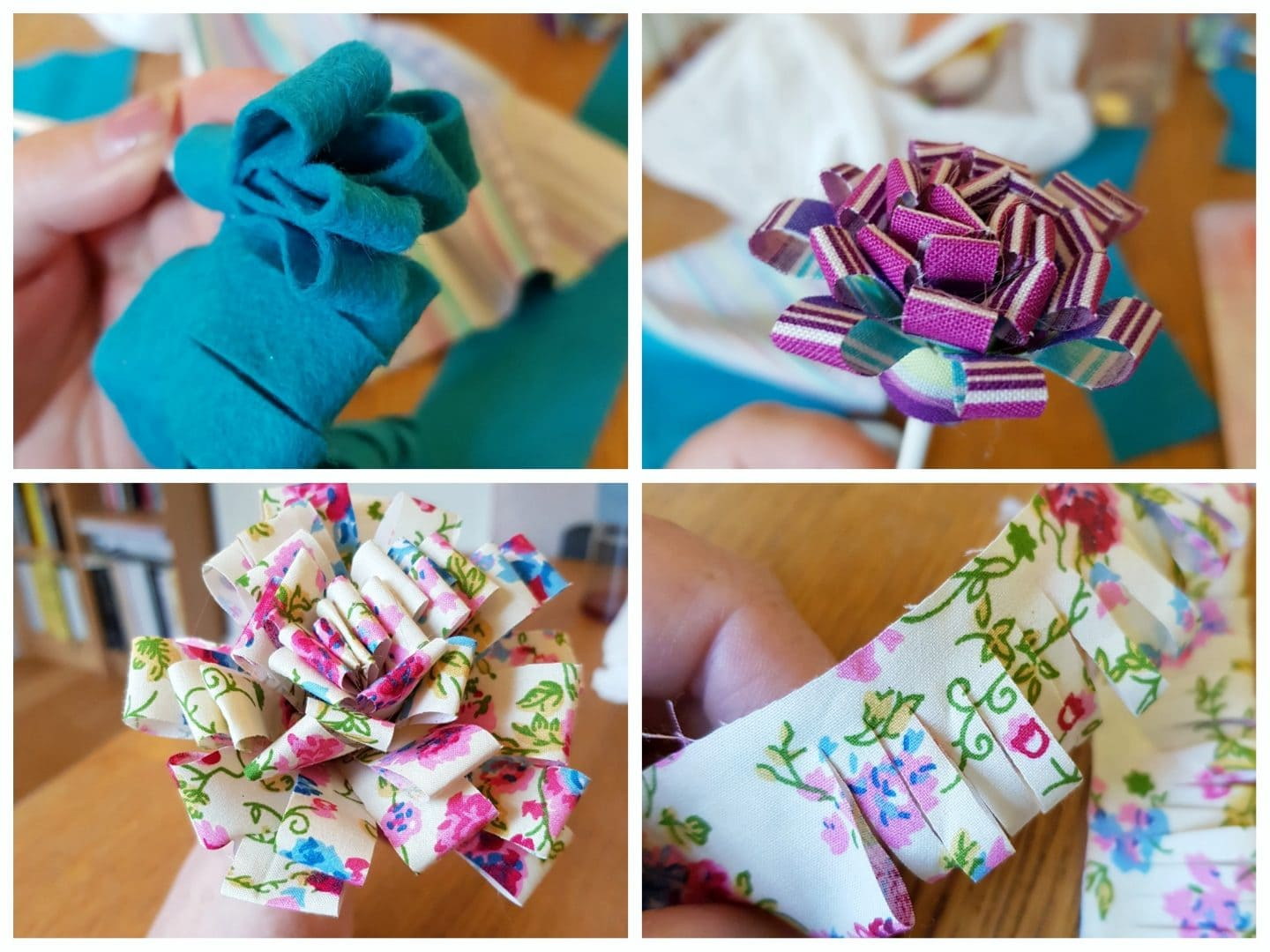 Fabric flowers taking shape