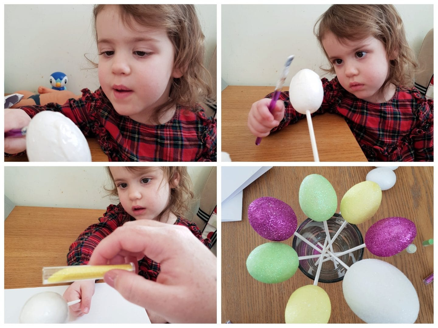 Littlest helping to make glitter eggs