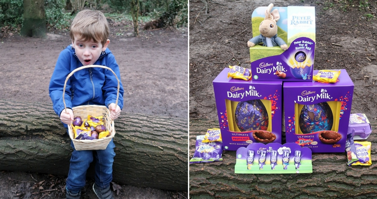 Cadbury Easter Egg hunt - A small boy with a basket of chocolate eggs on the left and a selection of Cadbury Easter products on the right.