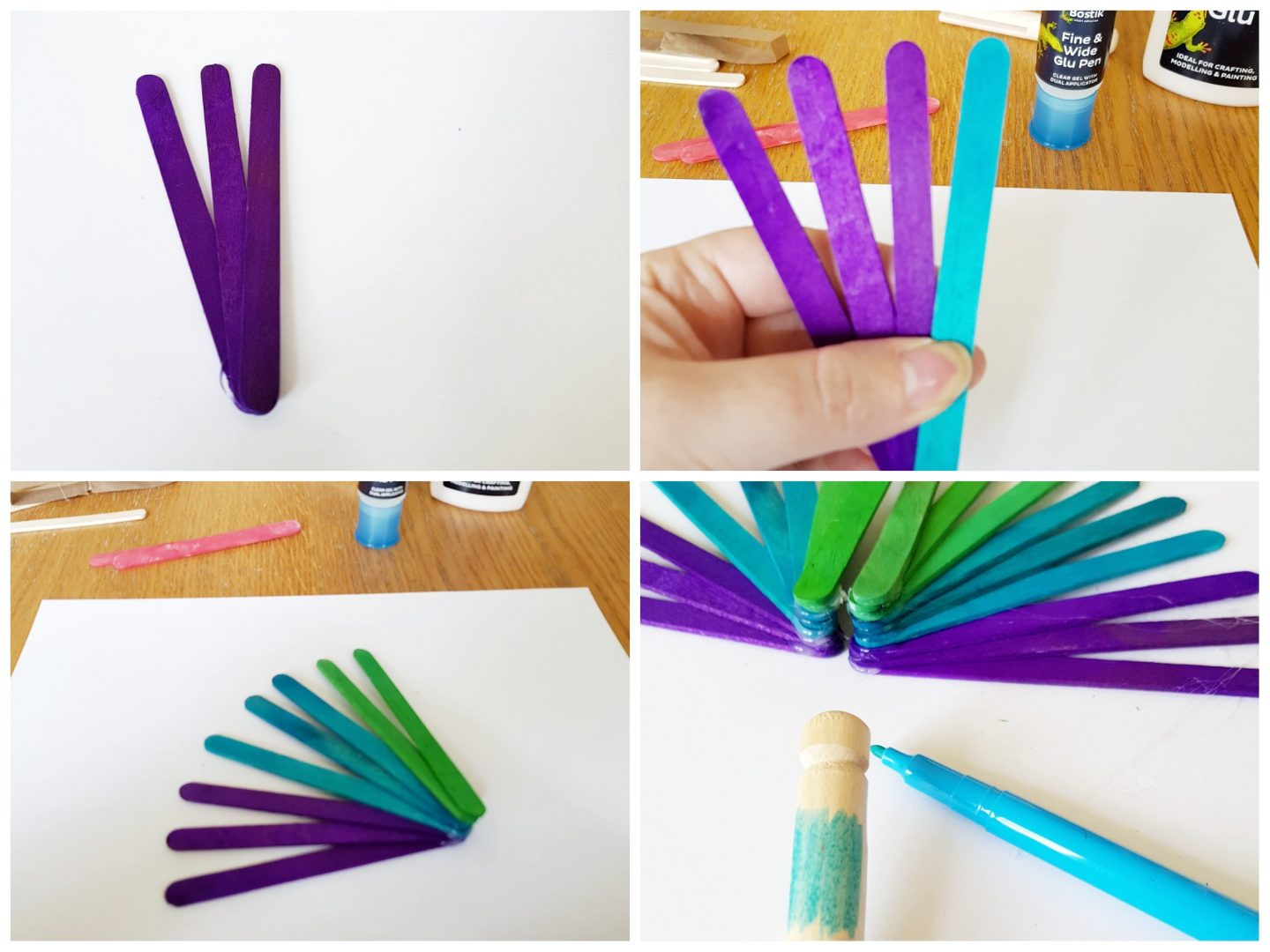 lolly stick craft - first steps to make a clothes peg peacock