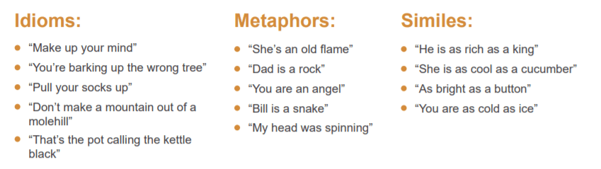 Examples of idiom and metaphor
