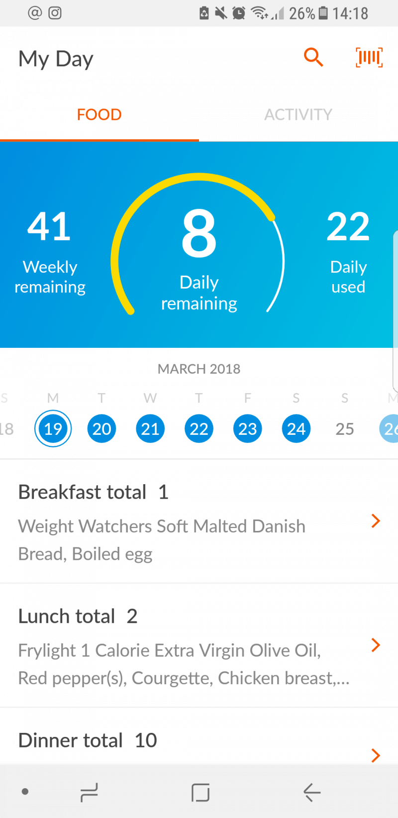 Screenshot of Weight Watchers App