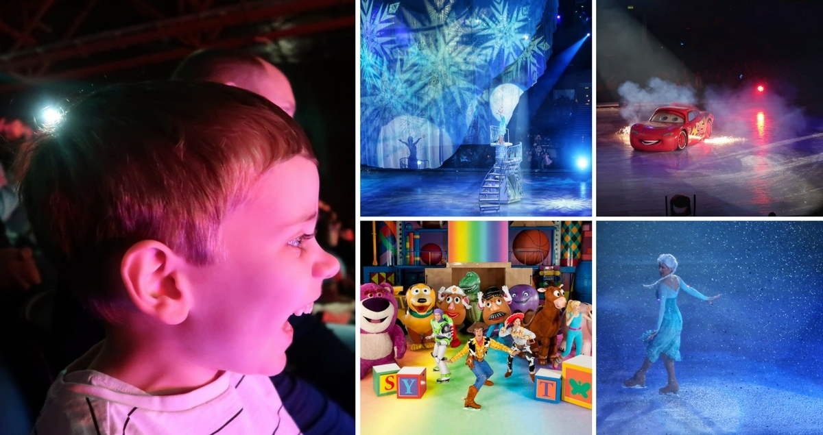 Disney on Ice Review - Worlds of Enchantment. Collage of pics from the show including characters from Frozen, Toy Story and Cars and a picture of a small boy's face, lit up with excitement.