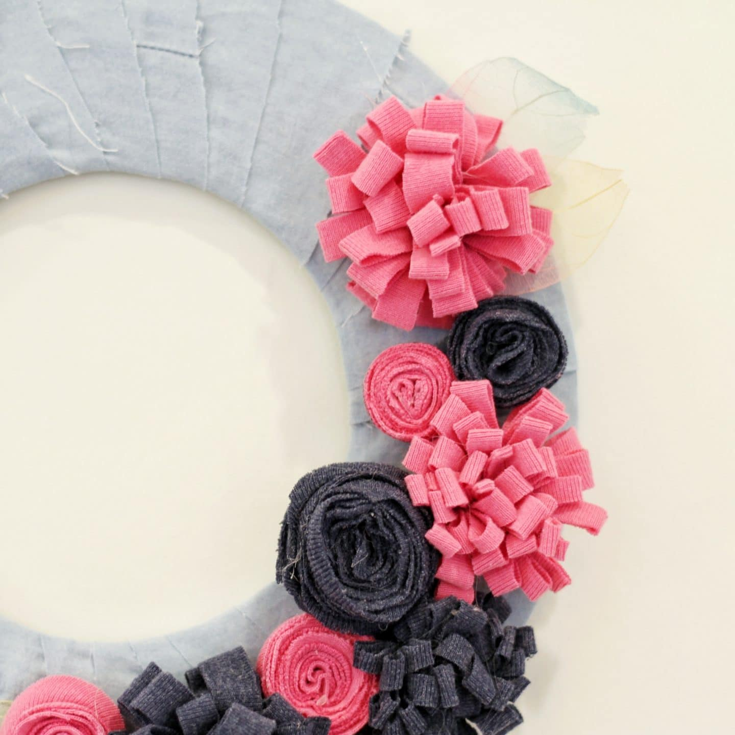 Close up of Summer wreath with fabric leaves