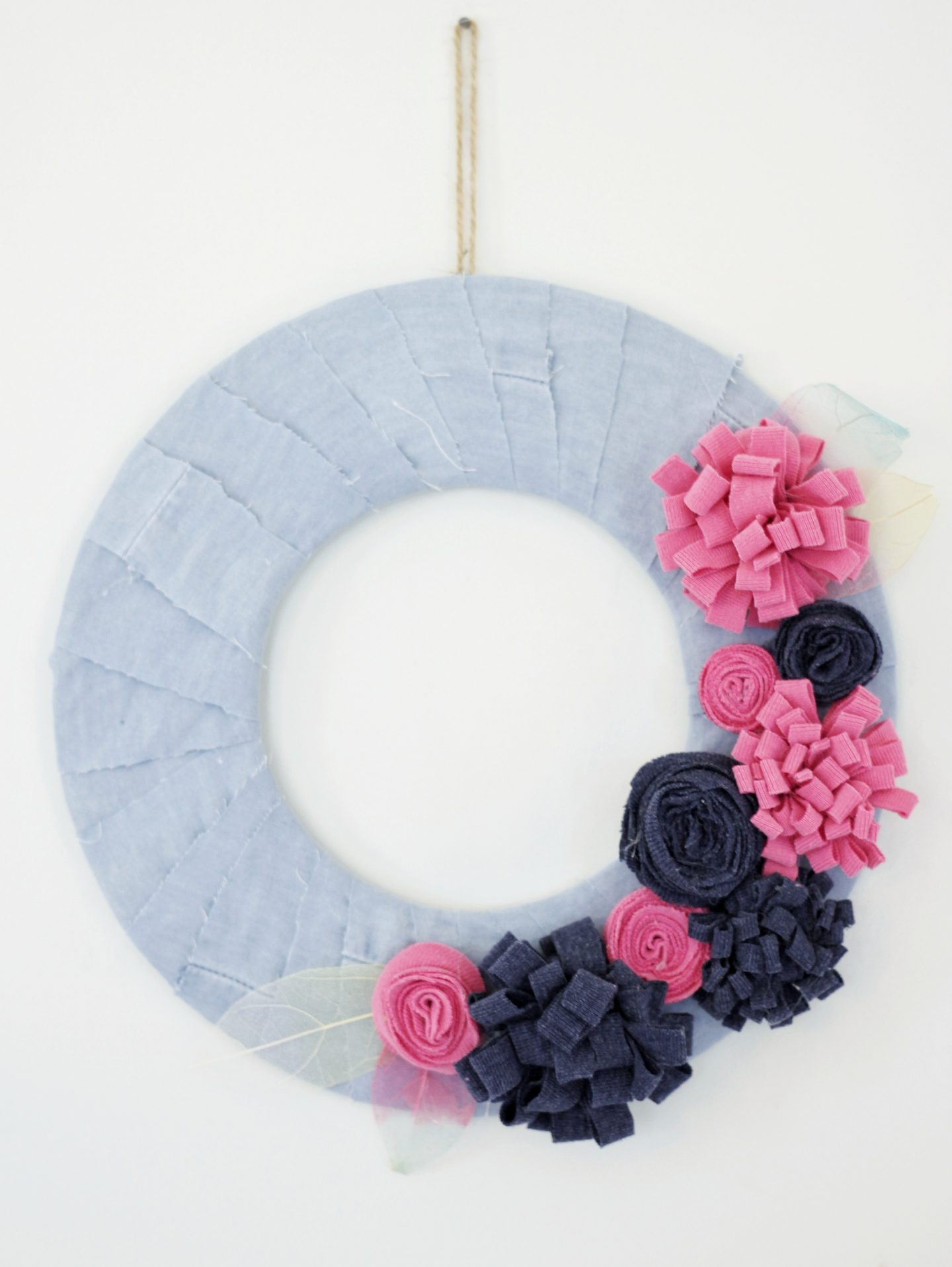 Finished summer flower wreath with recycled clothes