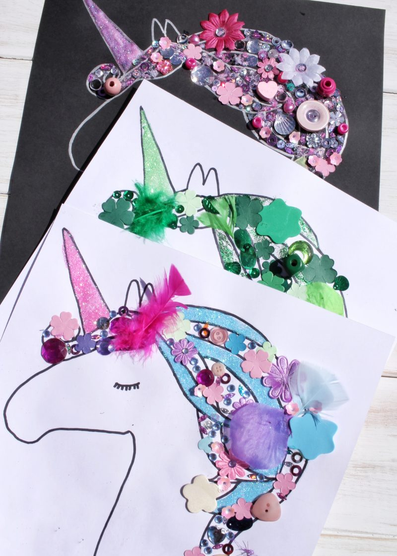 Three finished really easy unicorn craft items in different colours