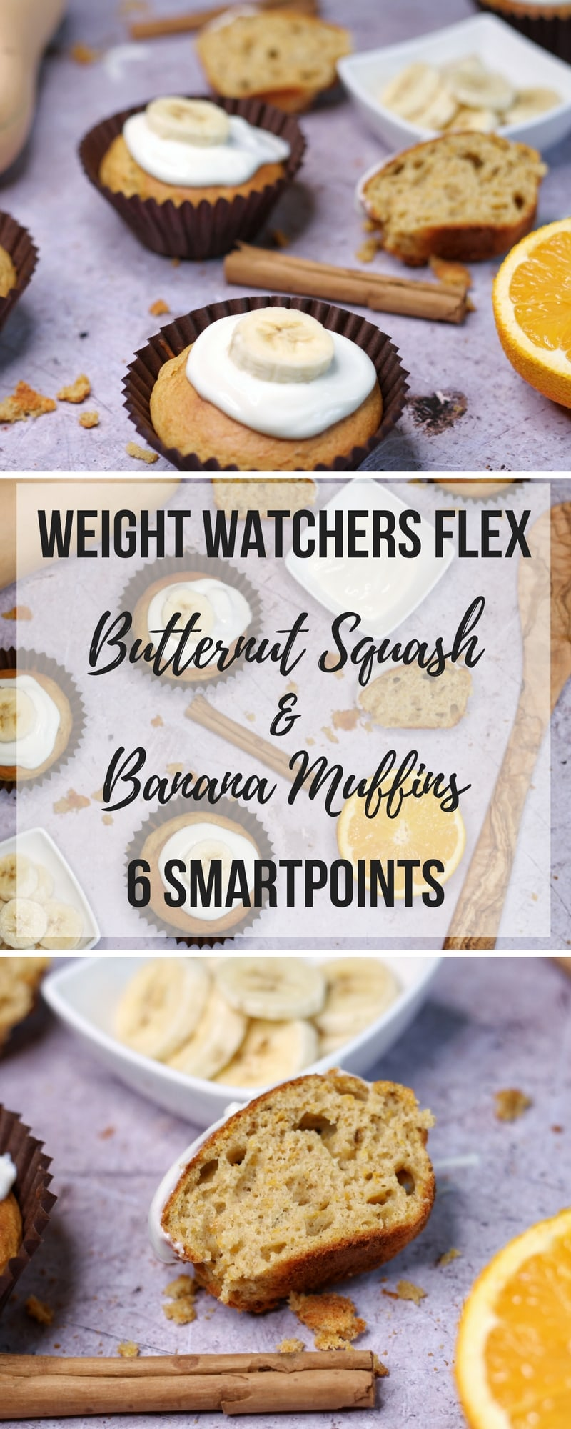 Weight Watchers Flex Recipe - Butternut Squash and Banana Muffins - a recipe for banana and butternut squash muffins with low fat greek yogurt frosting. #recipe #lowfatrecipe #muffins #bananamuffins #weightwatchers #flex