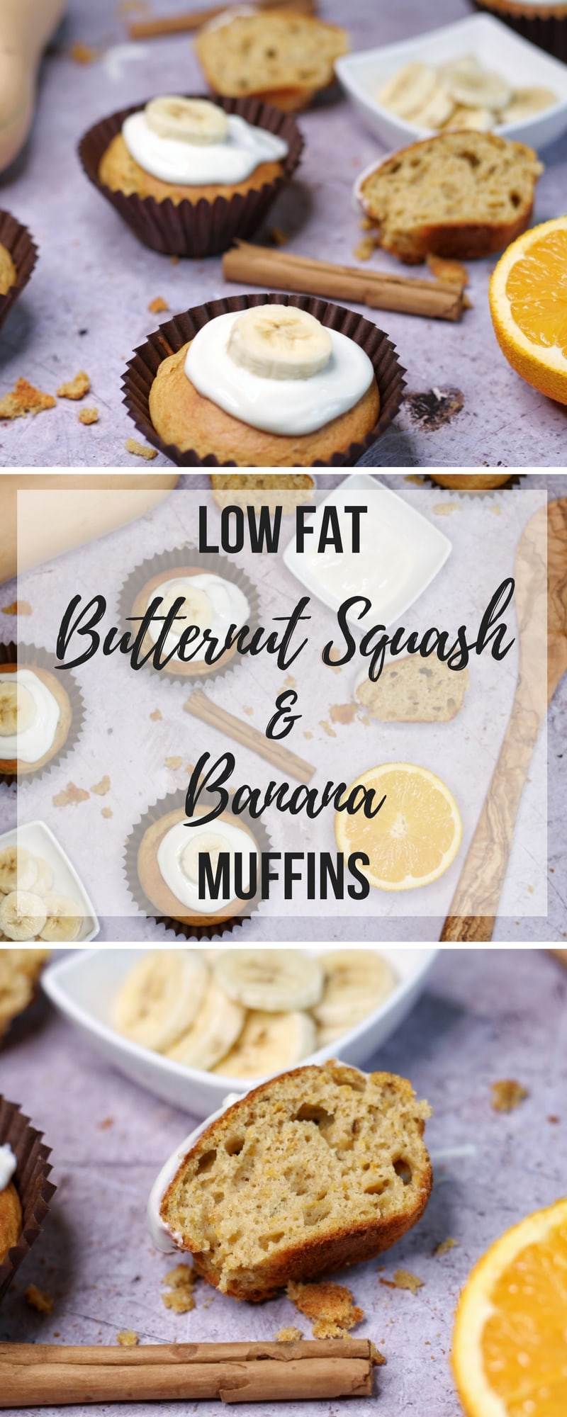 Low Fat Butternut Squash and Banana Muffins - a recipe for banana and butternut squash muffins with low fat greek yogurt frosting. #recipe #lowfatrecipe #muffins #bananamuffins