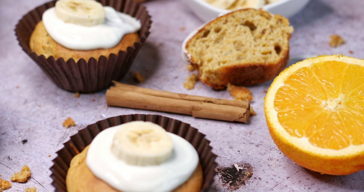 Low Fat Butternut Squash and Banana Muffins with low fat Greek yougurt and Cream Cheese Frosting