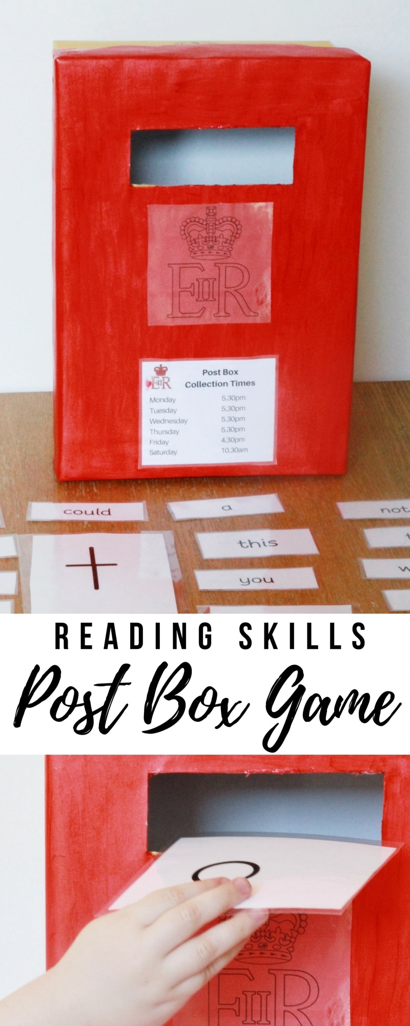 Post Box Reading Skills Game - A game to use with children aged 2-10 in for a fun way to develop their reading skills. #reading #skills #educationalgames #kids #children #homeed #homeschool