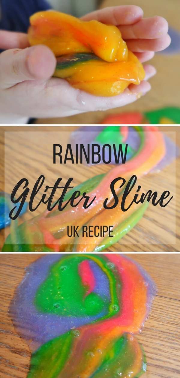 Rainbow Glitter Slime - a UK recipe that uses laundry starch.