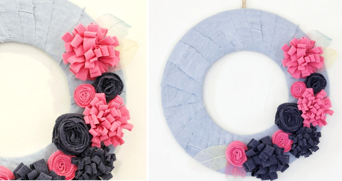 Flower Wreath Craft Using Recycled Clothes