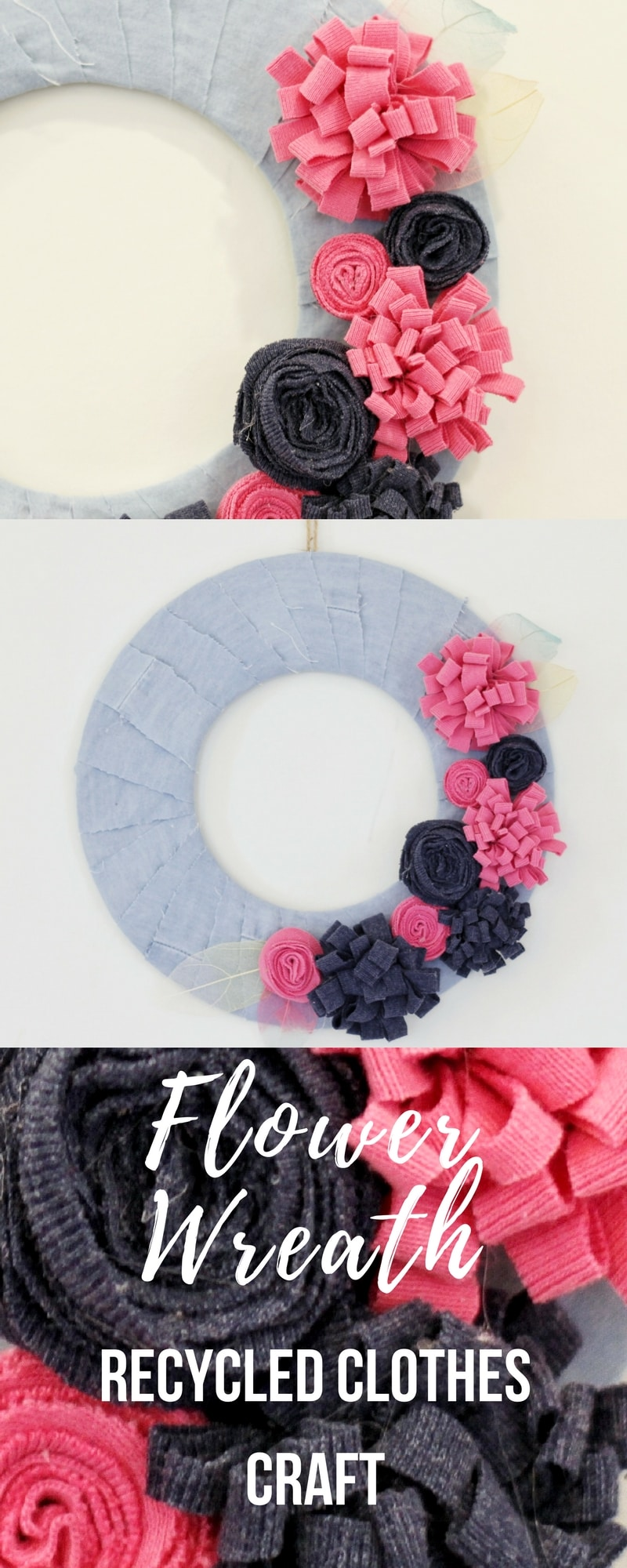 Flower wreath using recycled children's clothes.