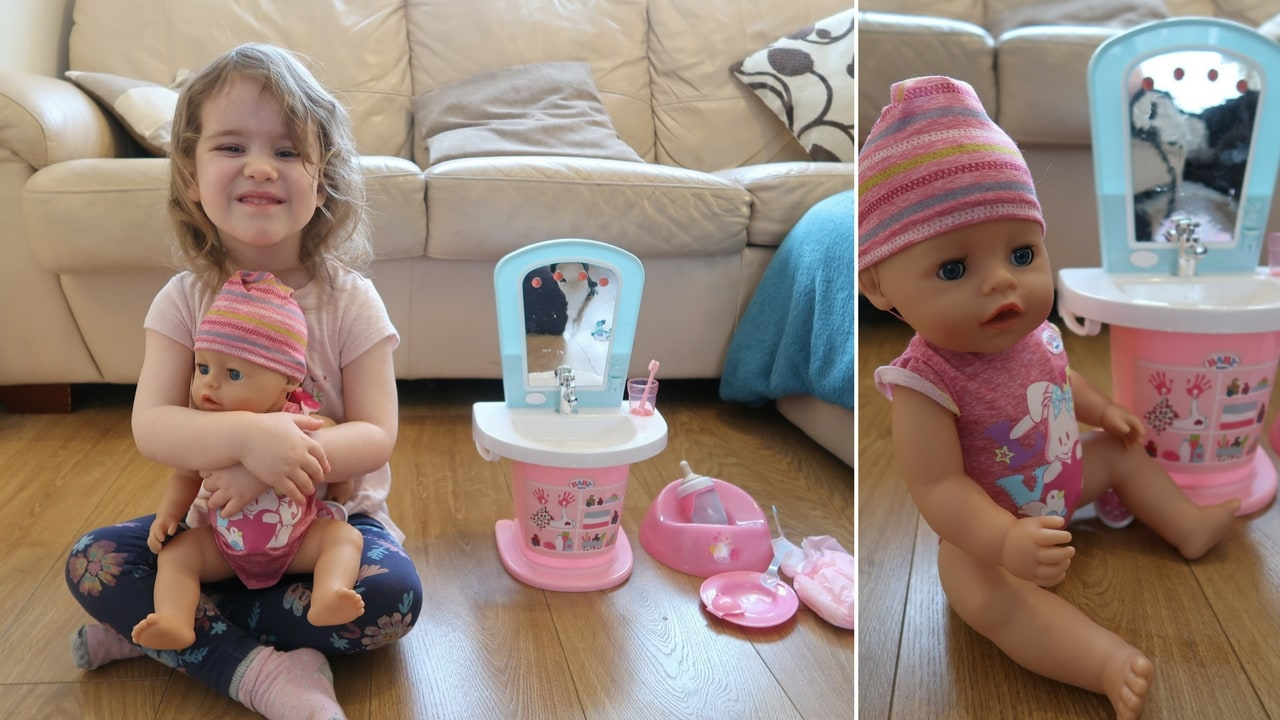 Baby Born Doll and Interactive Wash Basin Review - Little girl holding doll and close up of doll