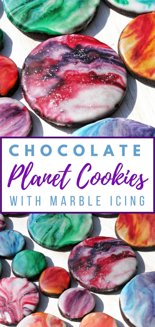 Chocolate Planet Cookies with Marble effect icing