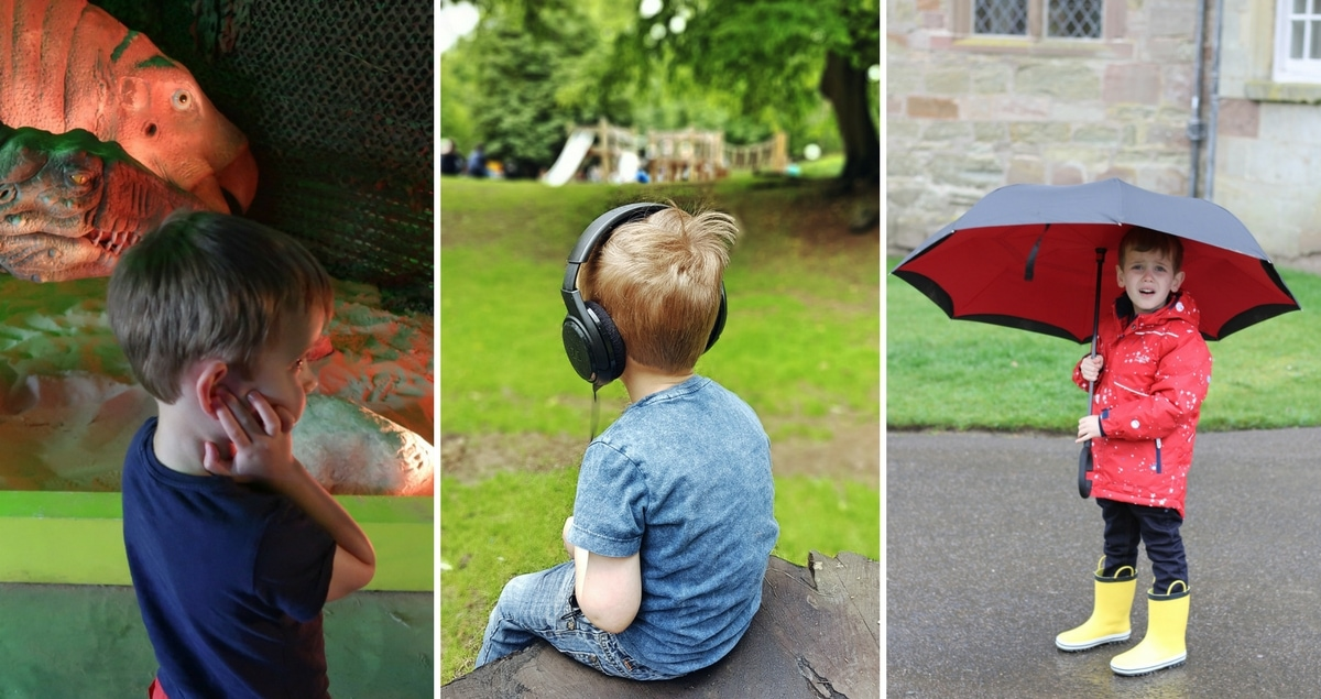 A collage of a small boy out on different trips - sometimes covering his ears or wearing ear-defenders.