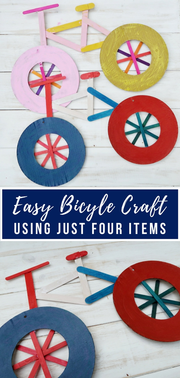 Easy Bicycle Craft using just 4 items - celebrate the Tour de France with this really simple Bicycle Craft that even small children can do. All you need is a few items to make a really effective bicycle to display.