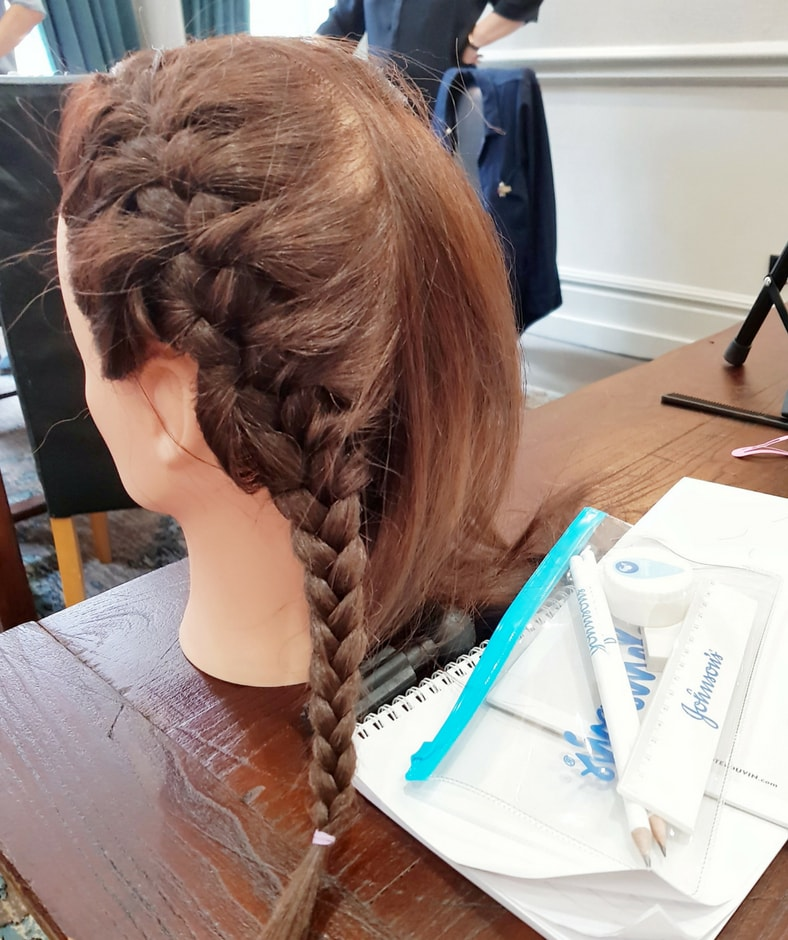 First Hair Cut and Johnson's meeting - hair mannequin with french plait
