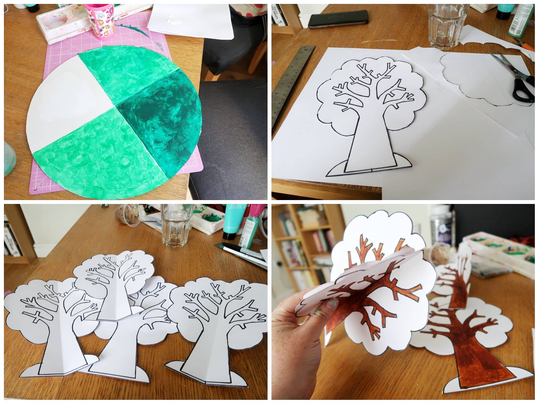 Collage of steps for creating season sorter - making the tree and disc