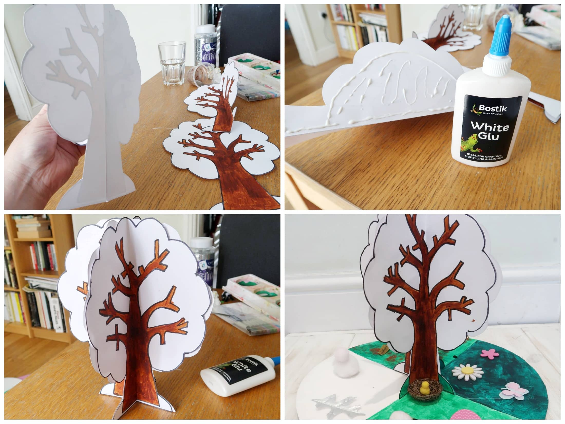 Putting the tree shape together for seasons craft