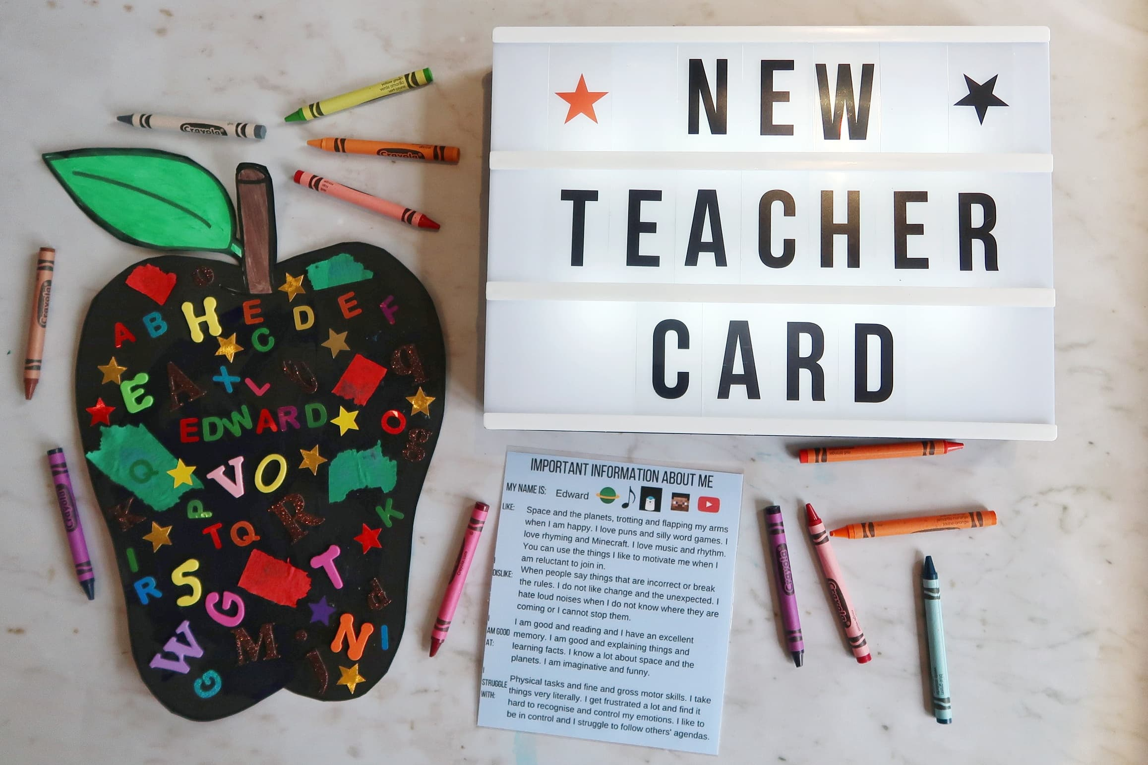 Back to school craft - new teacher card. Blackboard apple next to lightbox spelling 'New Teacher Card'.