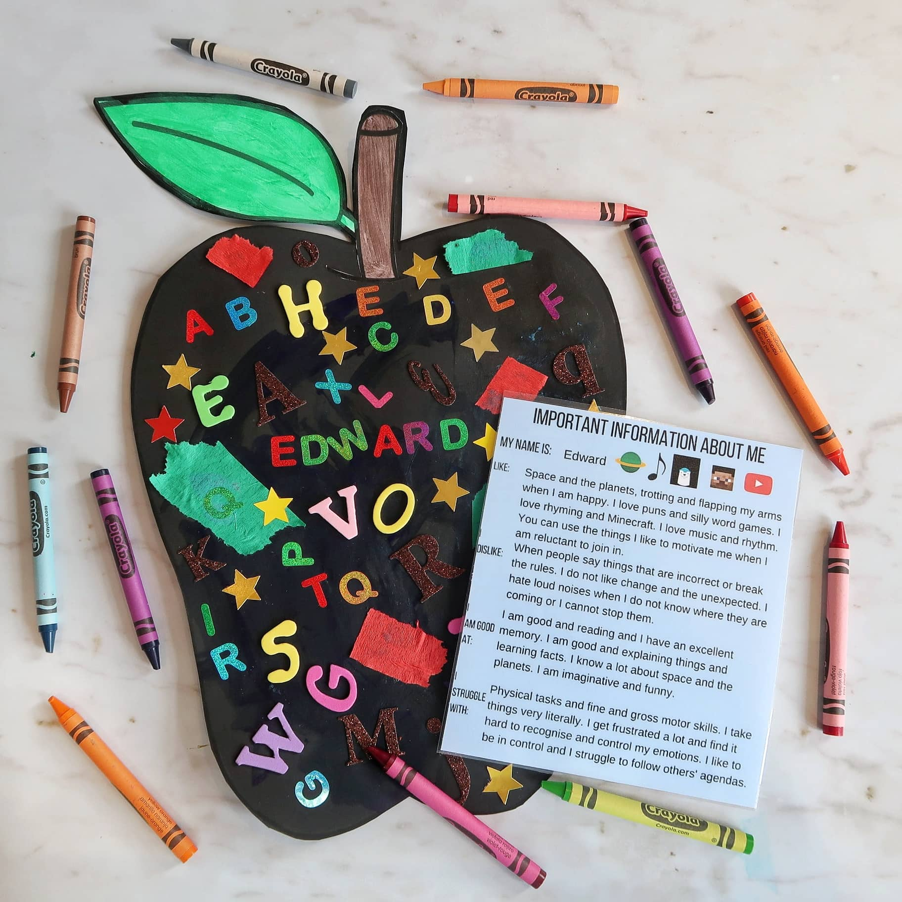 Finished BAck to School Craft Apple