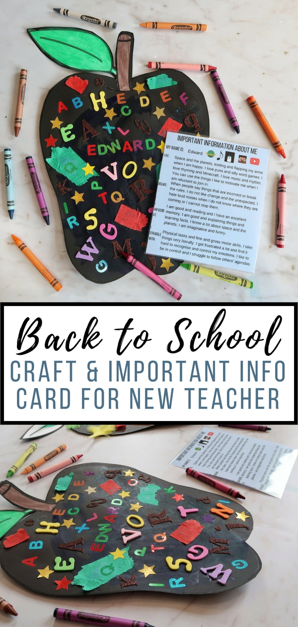 Back to School Craft with All About Me card